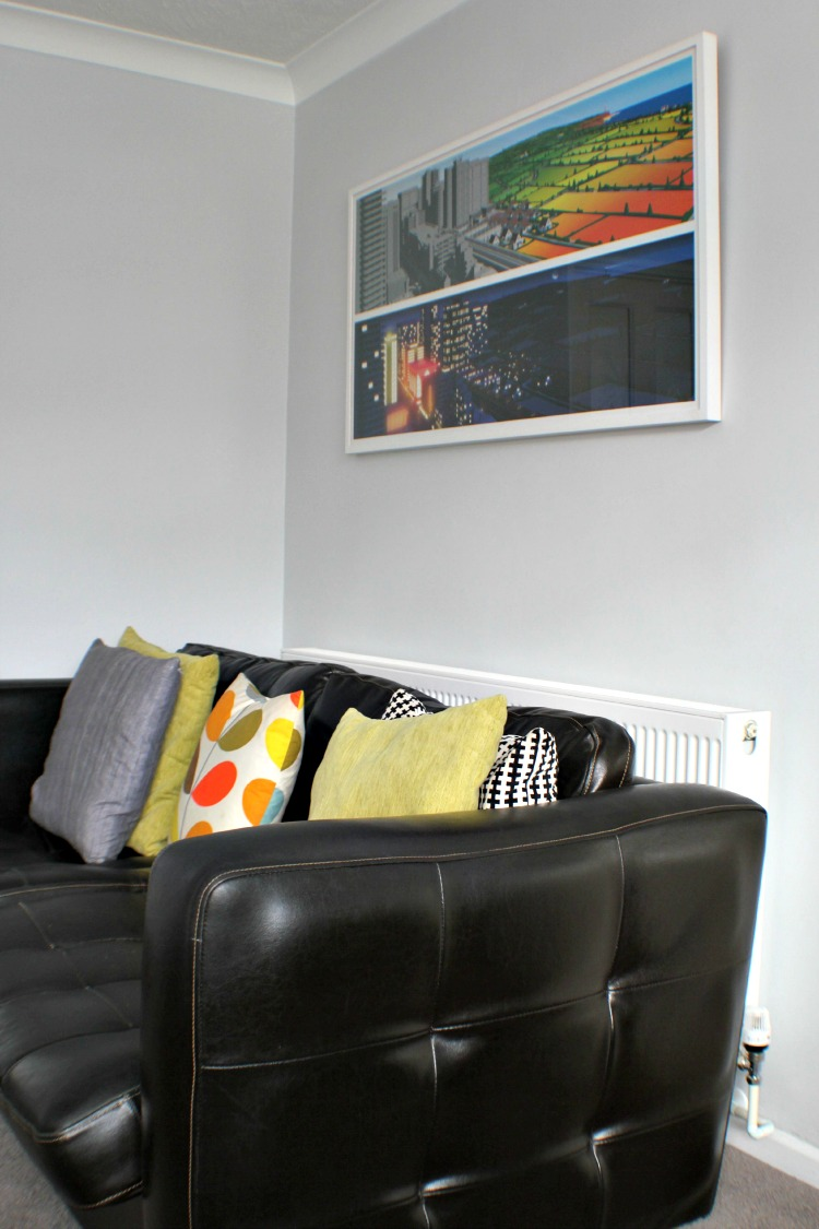 Our sofa with our Ikea cushion