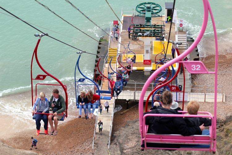 Colourful chair lifts down to Alum bay. Sorry complete strangers for plastering your photos all over the internet BTW.