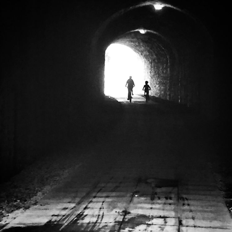 Me and the oldest nephew riding through a tunnel on the Tarka trail. He rode 23 miles, not bad for an 8 year old, eh!