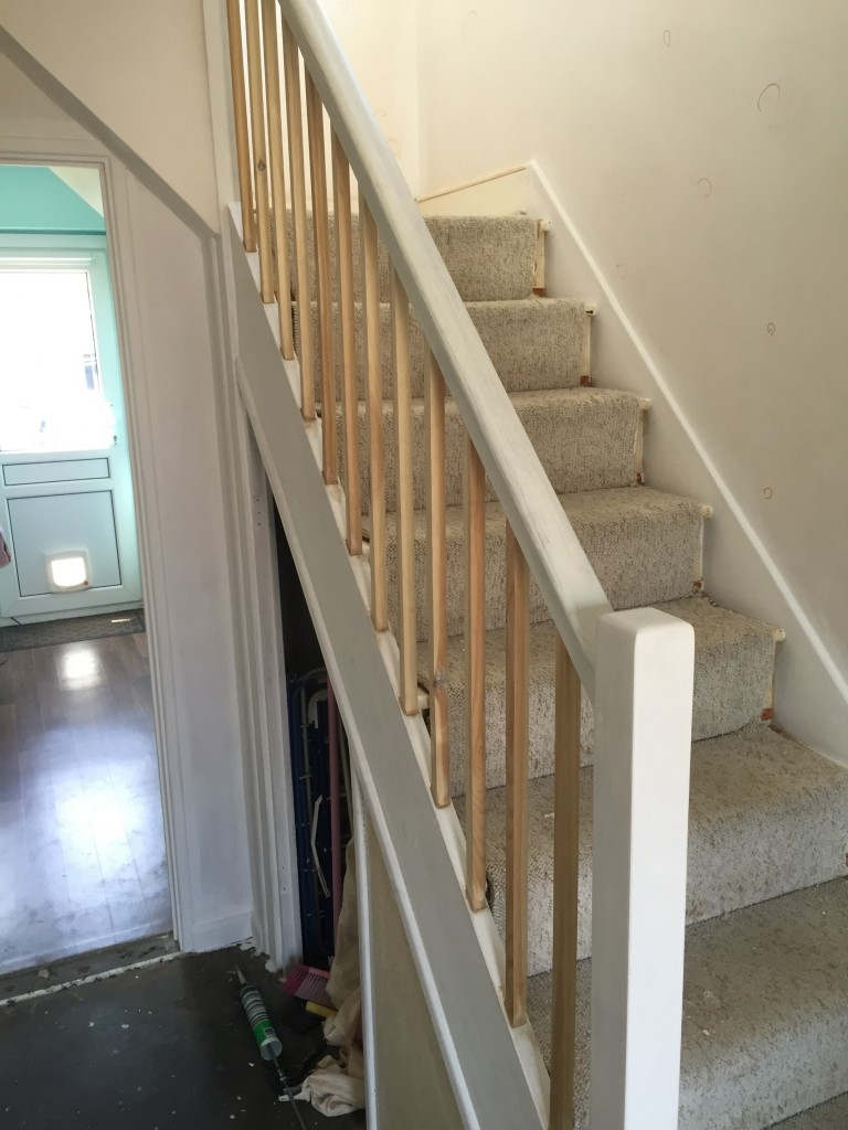 With the replaced banisters